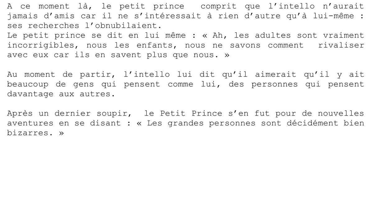 redaction sur le petit prince
