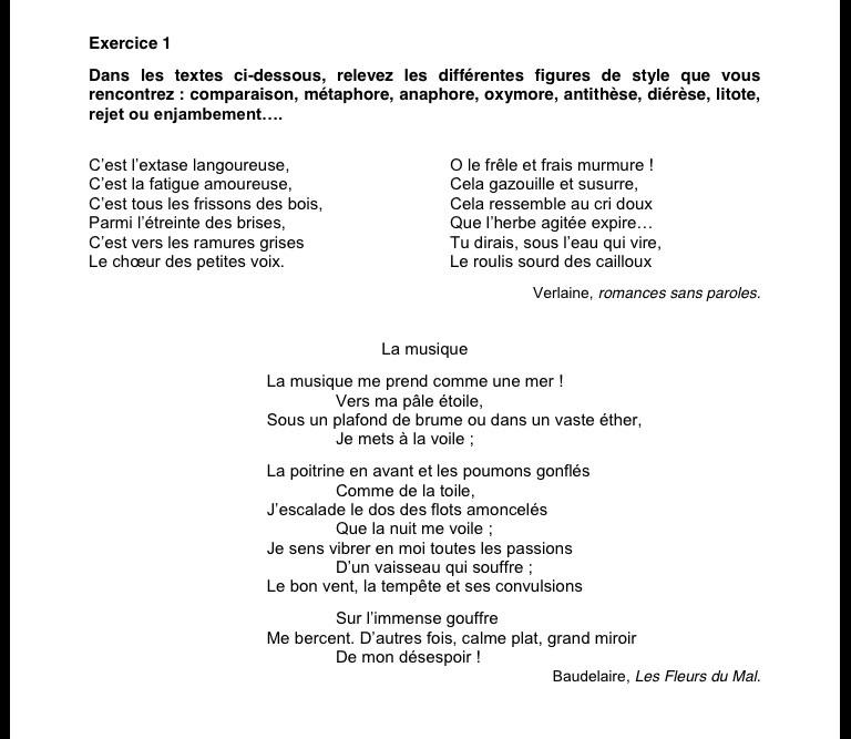 Exercice 1 Dans Les Textes Ci Dessous Relevez Les Differentes Figures De Style Que Vous Rencontrez Nosdevoirs Fr