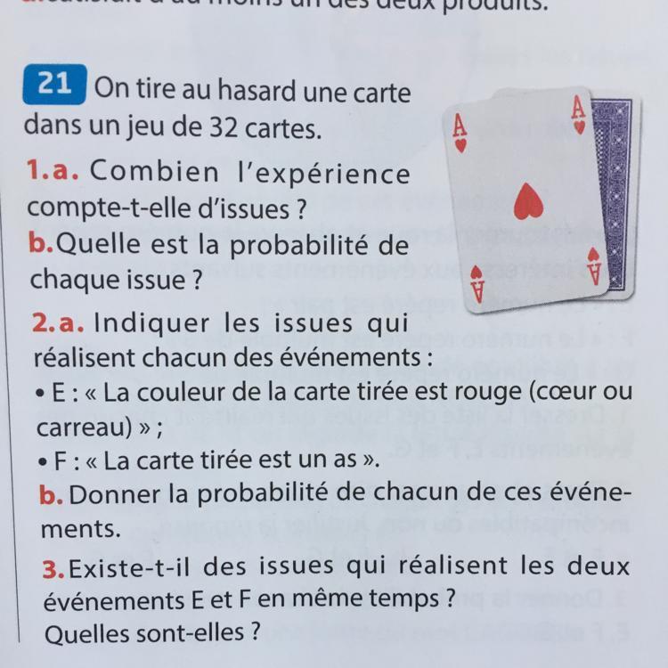 on tire au hasard une carte dans un jeu de 32 cartes Bonjour, 21p71 On tire au hasard une carte dans un jeu de 32