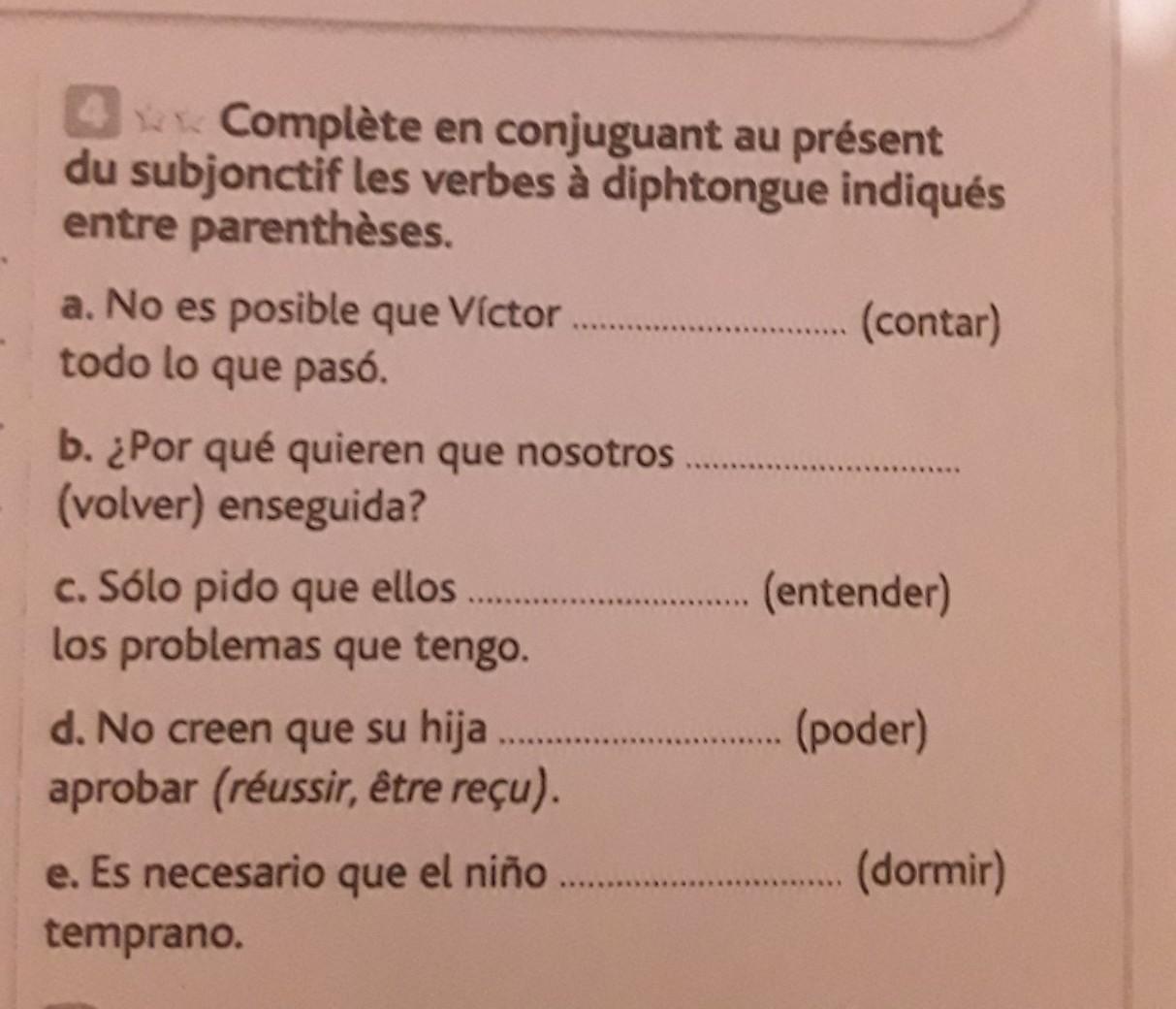 Bonsoir En Fait J Ai Un Exercice En Espagnol Que Je Dois Rendre Pour Demain Est Ce Que Vous Pouvez Nosdevoirs Fr