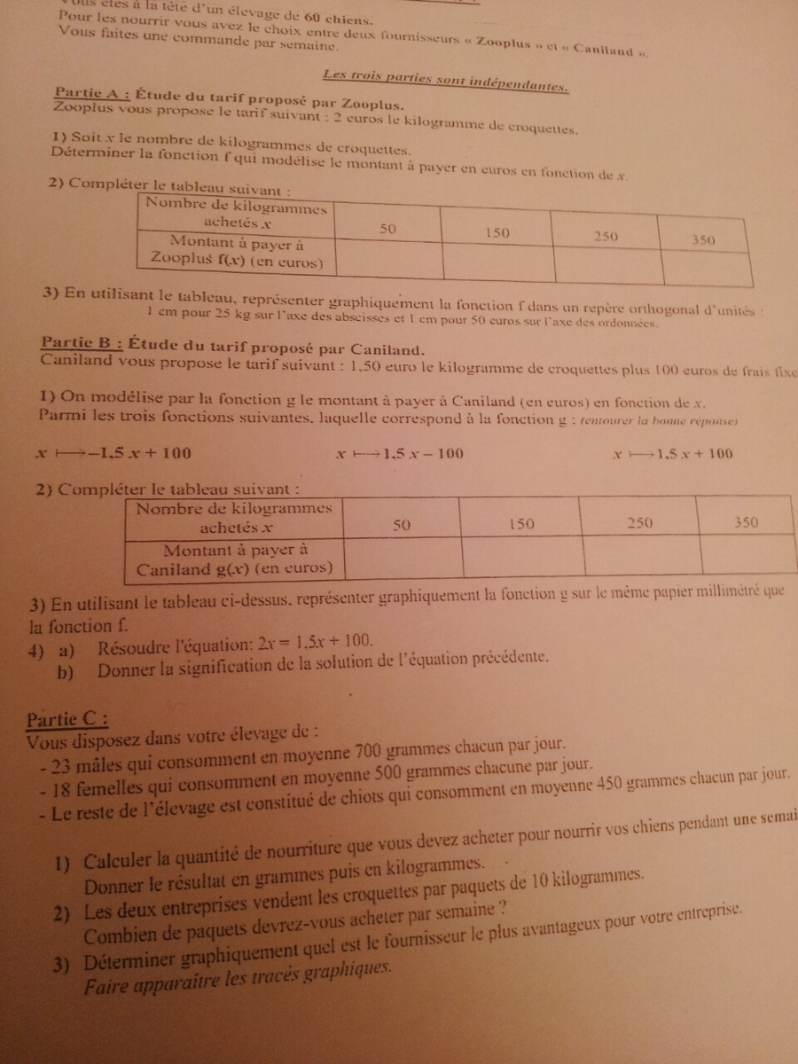 dm de math 3eme correction fonction
