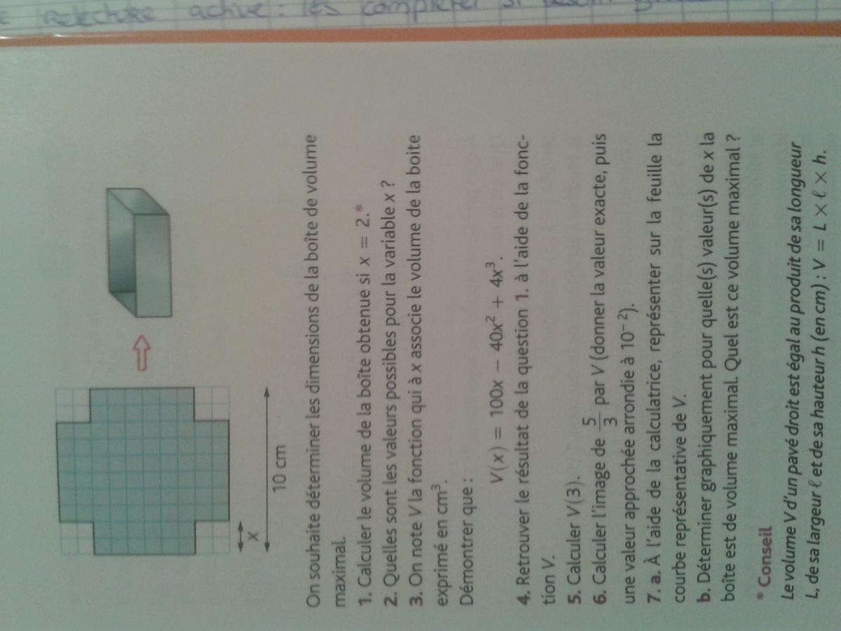On dispose dun carre de metal de 10cm de cote pour for Calcul metre carre d une piece