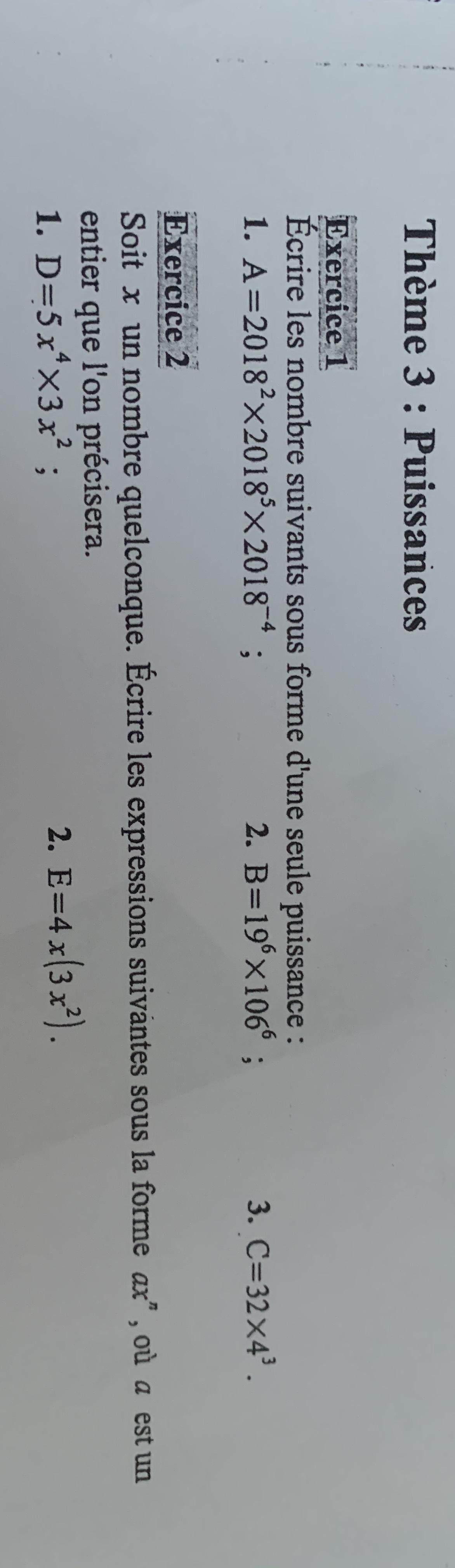 Theme 3 Puissancesexercice 1ecrire Les Nombre Suivants Sous Forme D Une Seule Puissance 1 Nosdevoirs Fr