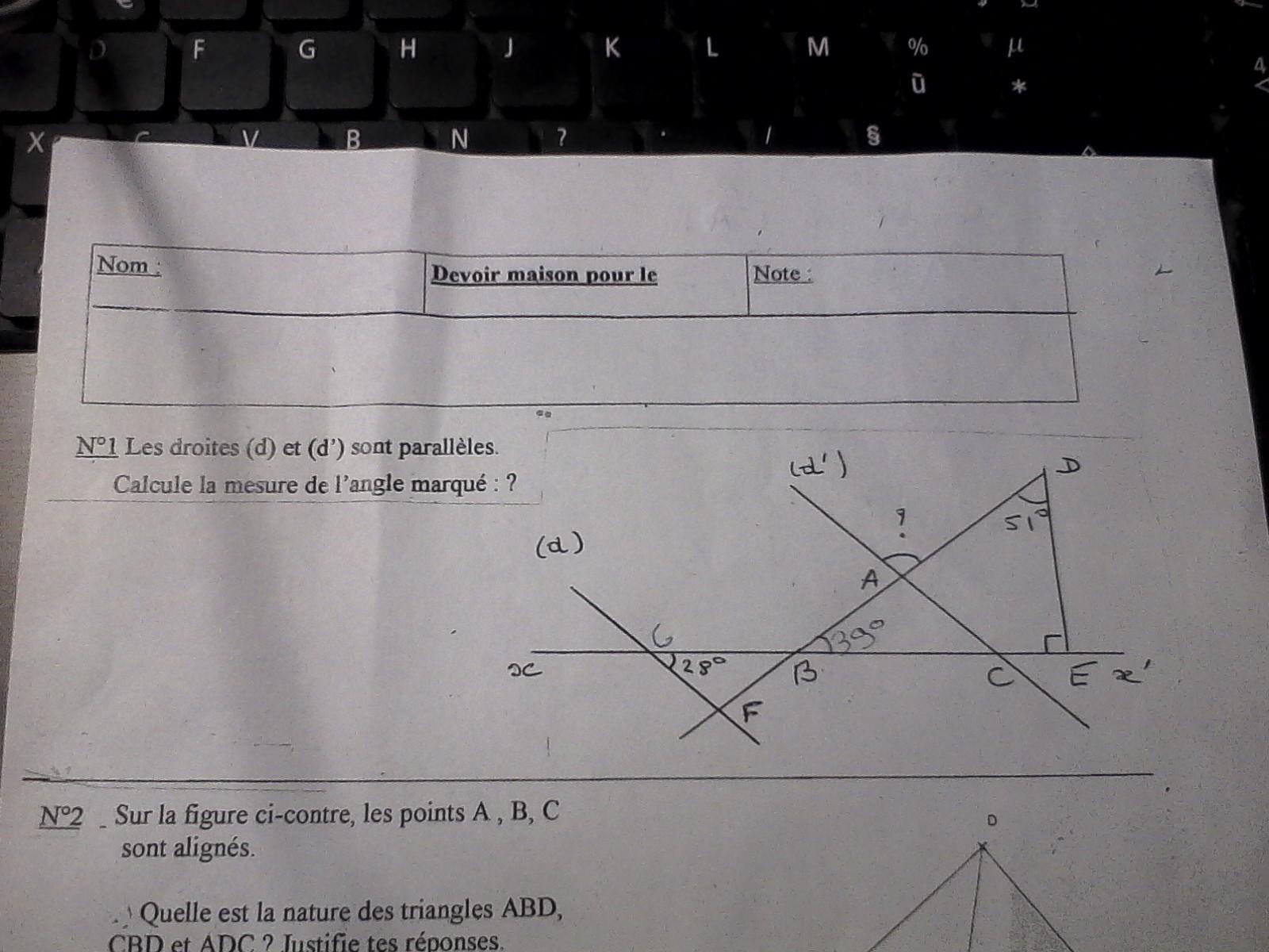 bonjours je suis en 5 eme et mon exercice de math me pose un problème a l'exercice 1 (sachant ...