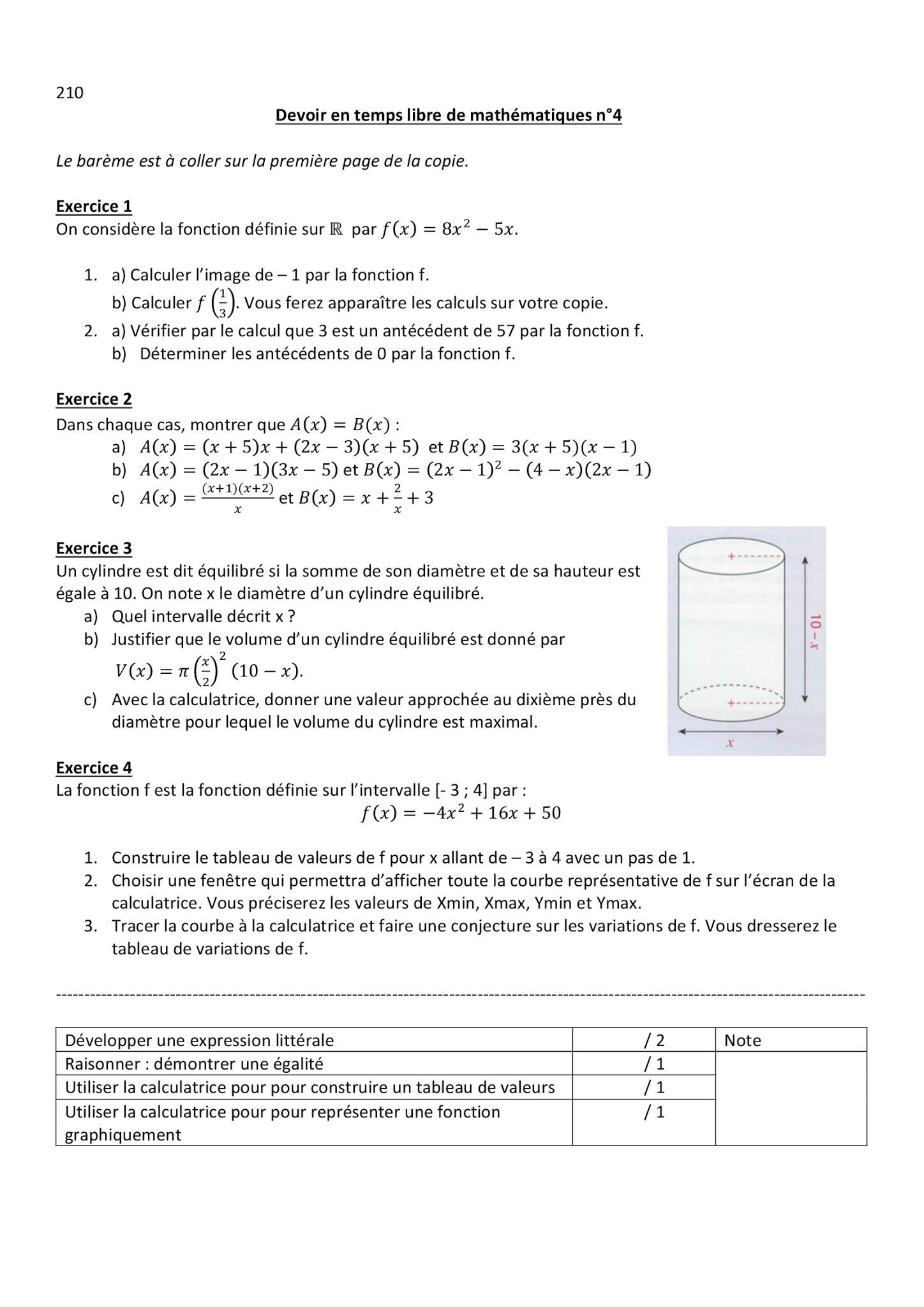 MATHS DM COmprend Rien 2nde Mathématiques