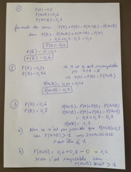 Exercice 2 de mon DM de Maths (Probabilités - 2nde) Merci ...