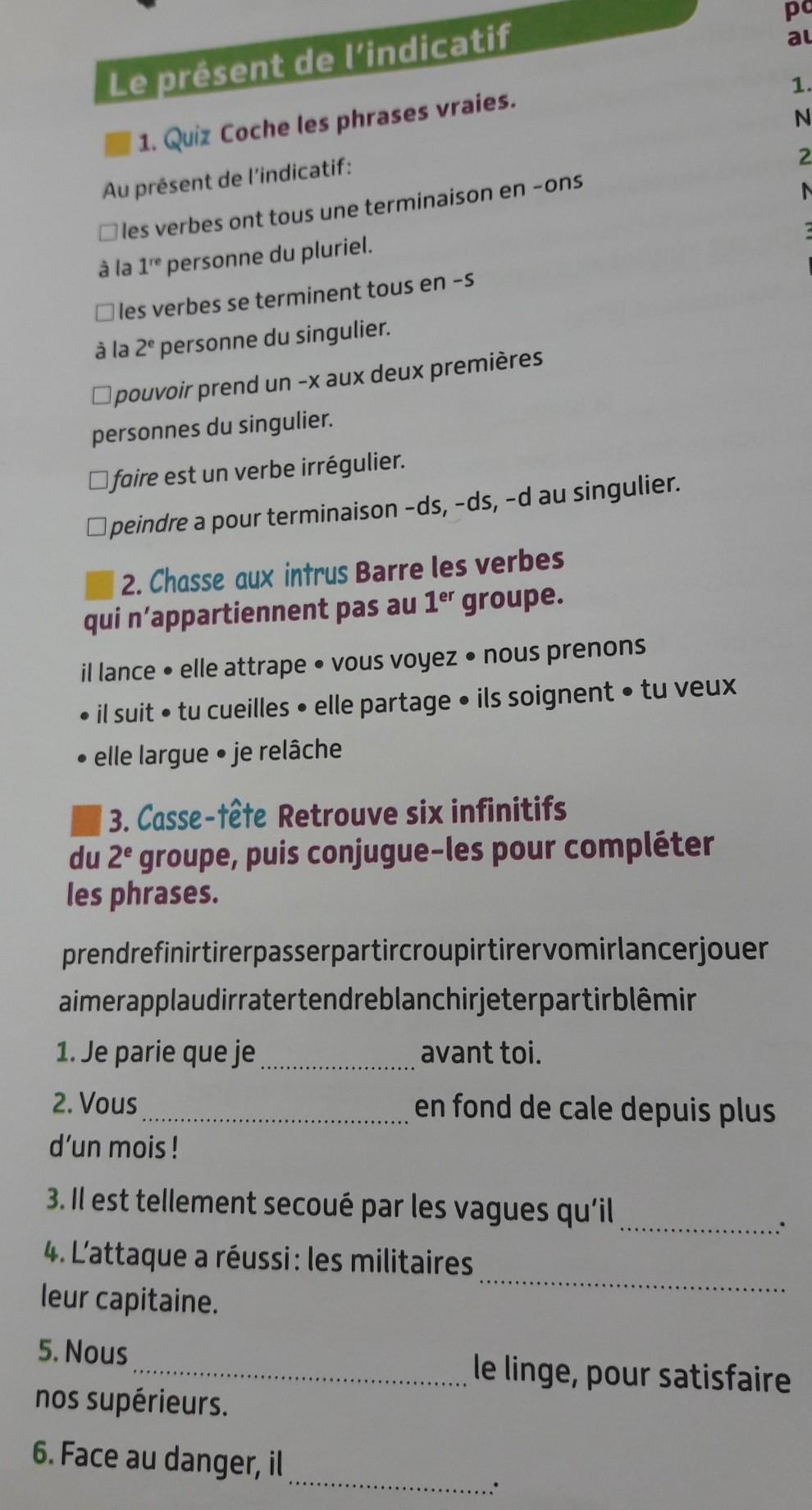 Bonjour Pouvez Vous M Aider A Faire Mes 3 Exercices De Francais Nosdevoirs Fr