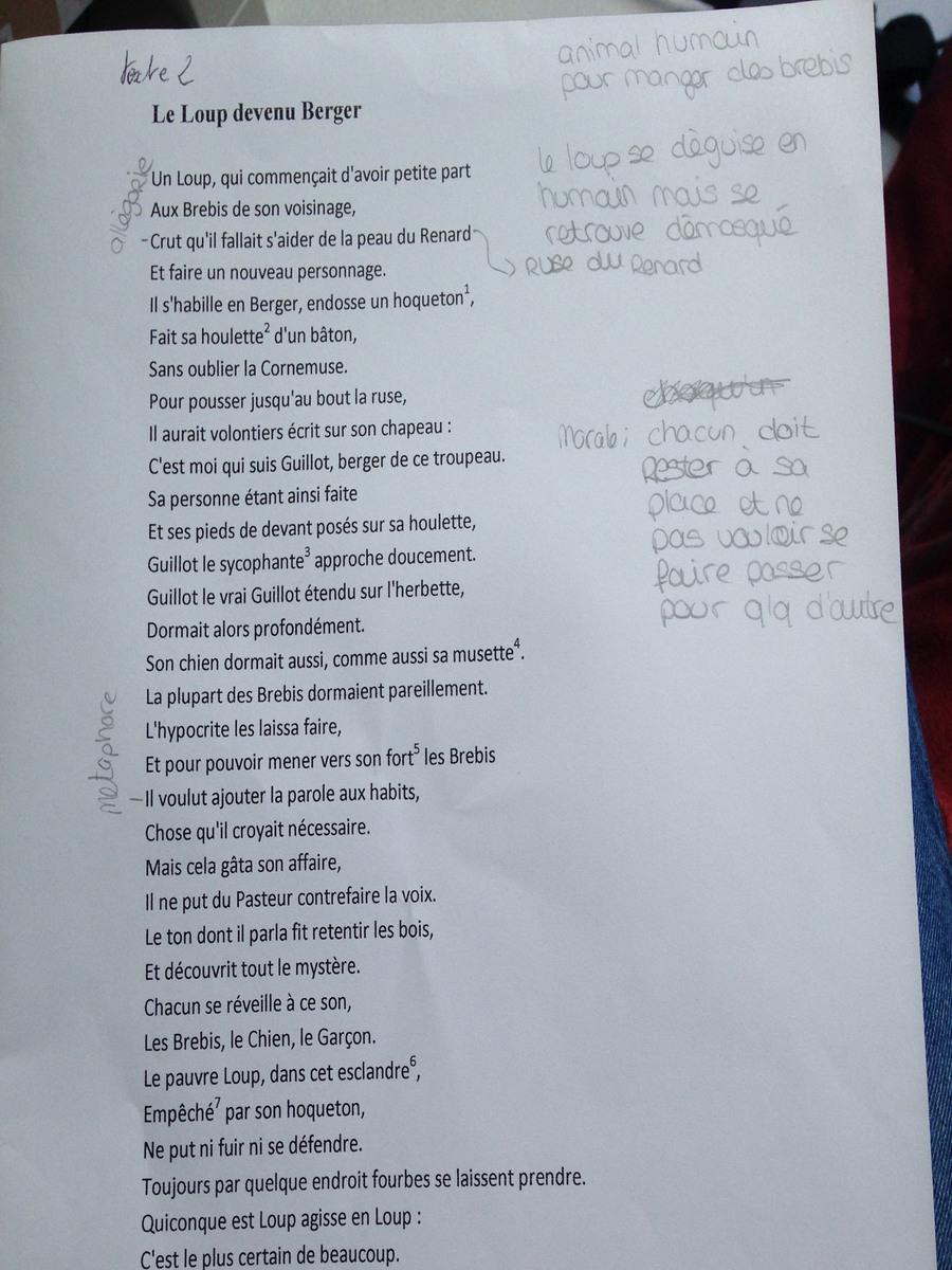 Corpus De Texte Fables De La Fontaine - Exemple de Texte