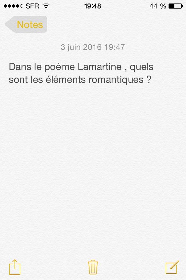 Je Dois Répondre à Une Question Sur Le Poème Le Lac De