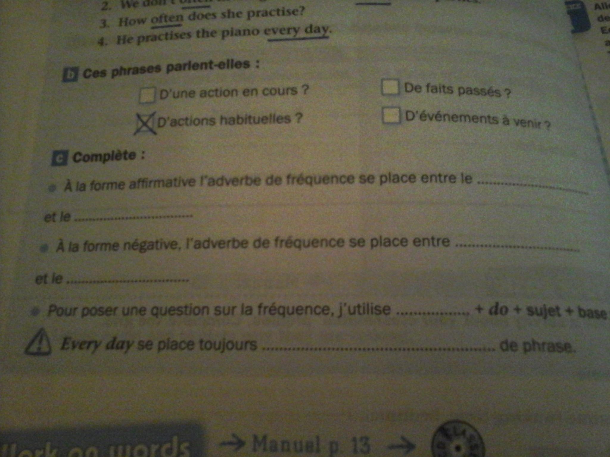 Bonjour Urgent Niveau 5eme 3 Questions En Anglais Exercice C Il Faut Seulement Completer La Nosdevoirs Fr