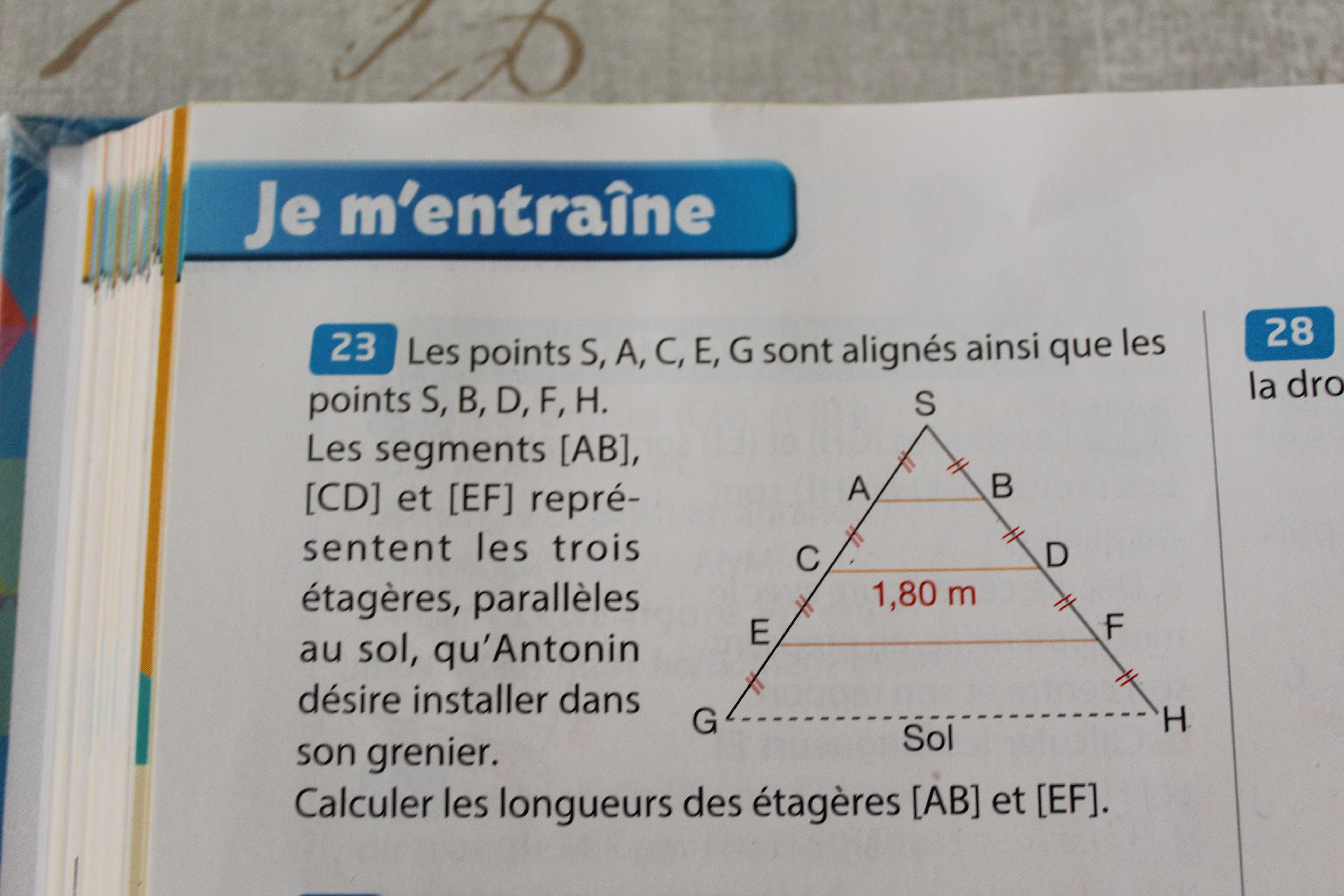 Bonjour J Ai Un Exercice En Math Sur Le Theoreme De Thales Et Je Suis En 3eme Les Points S A Nosdevoirs Fr