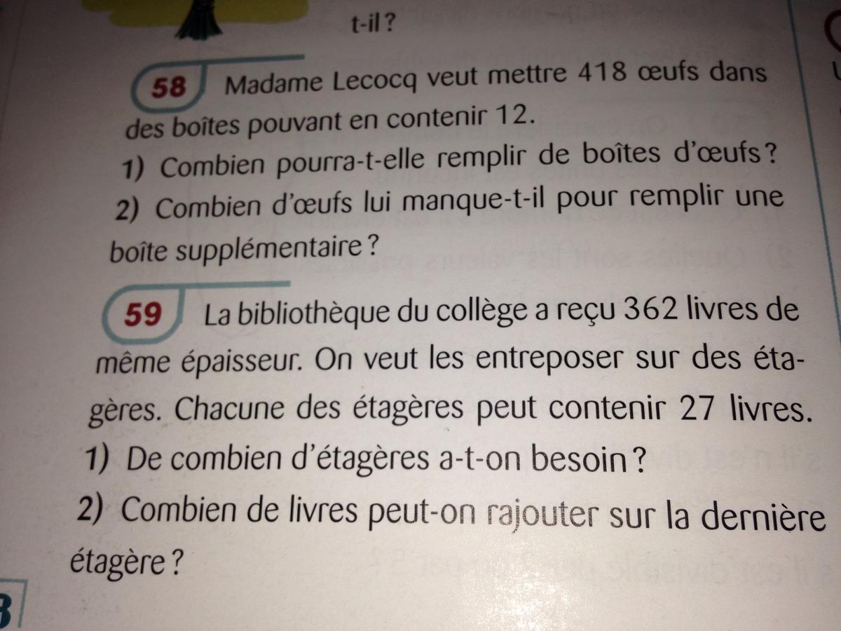 Ex 58 et 59 page 88 mathématiques 6eme - Nosdevoirs.fr