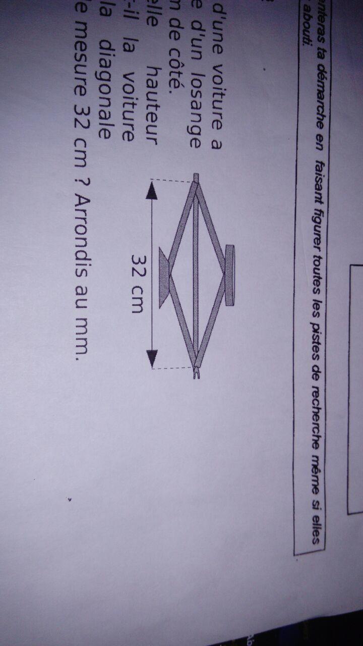 Le Cric Du0027une Voiture A La Forme Du0027un Losange De 21 Cm De Côté. À Quelle  Hauteur Soulève T Il La Voiture Lorsque La Diagonale Horizontale Mesure 32  Cm ?