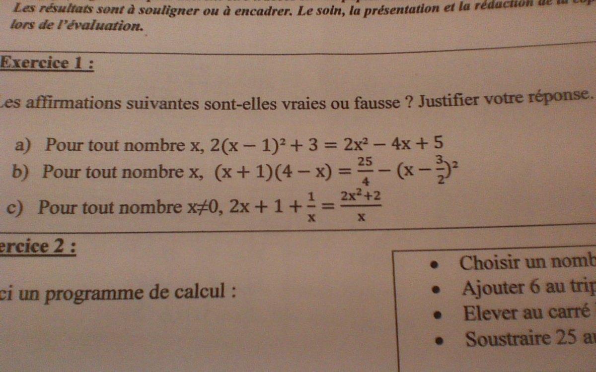 Bonjour pouvez vous m'aider pour mon exercice de maths ...