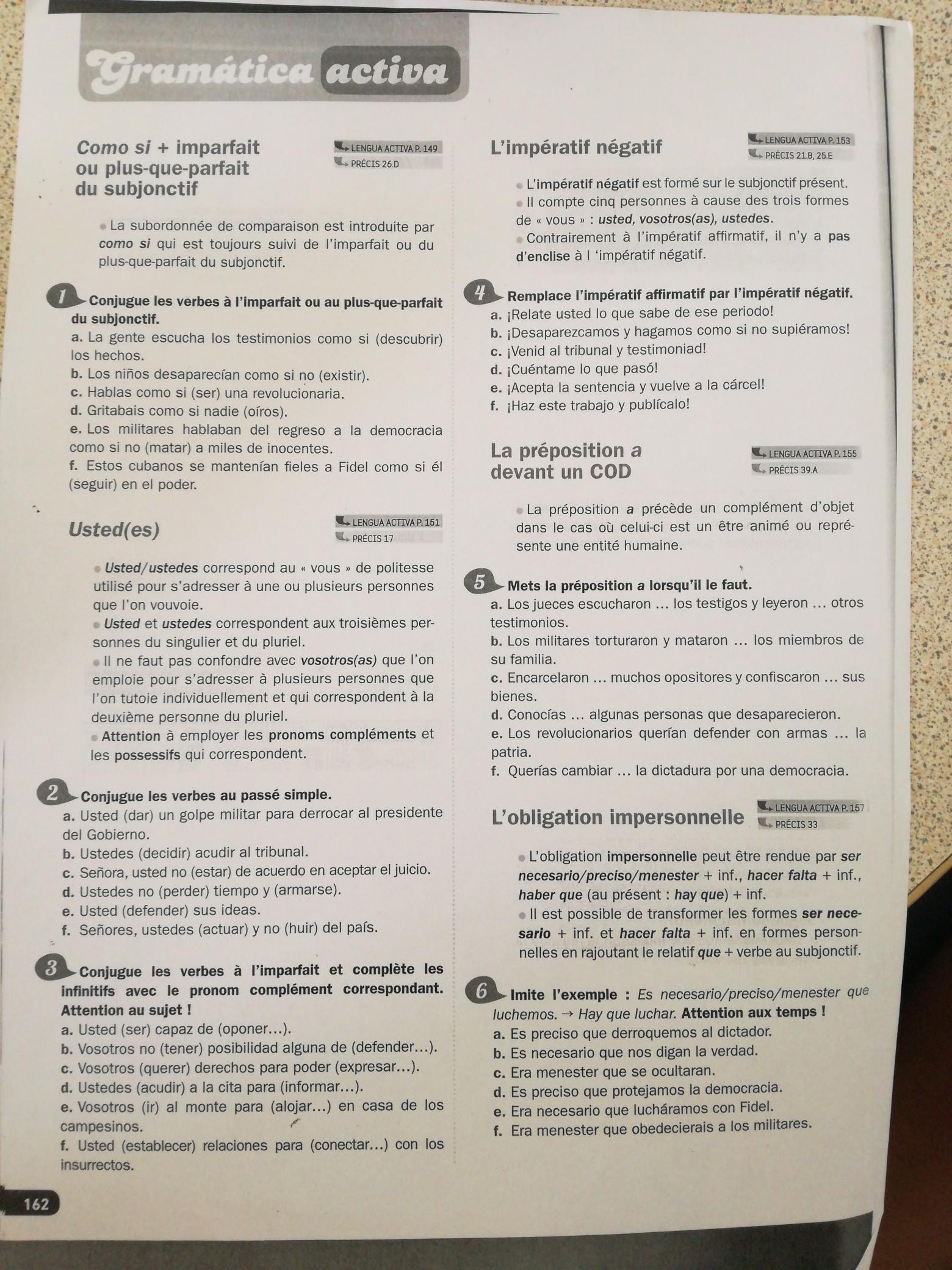 Bonjour J Aimerais De L Aide Pour Des Exercices De Conjugaison En Espagnol Merci D Avanceles Nosdevoirs Fr
