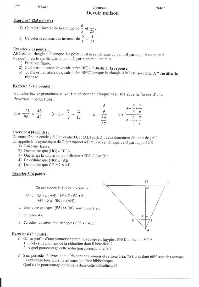 Dm de mathématiques. Aidez-moi pour les exercices 1,2,5 et ...