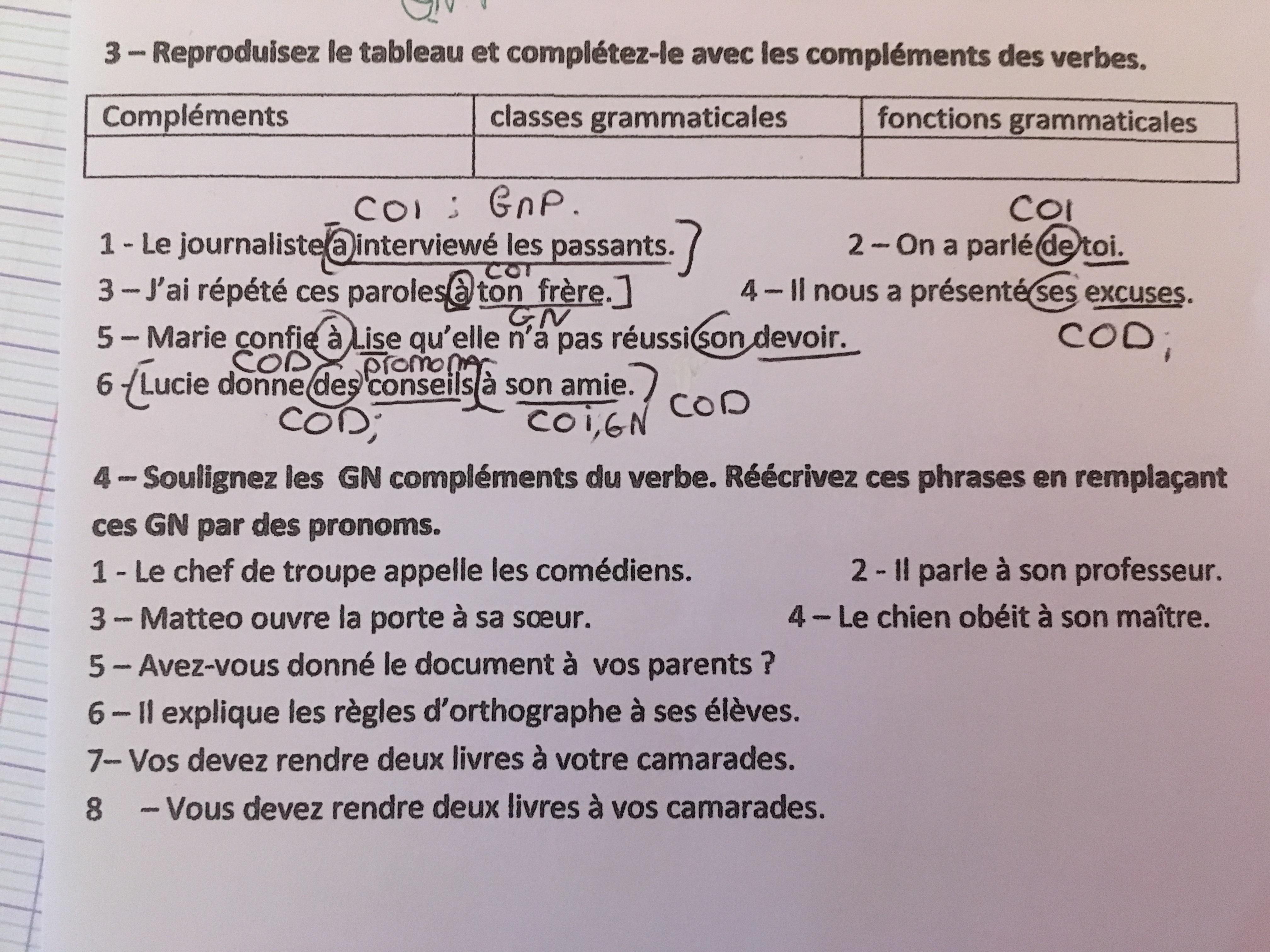 Bonsoir Je Ne Comprends Pas Mes Deux Exercices De Francais Je Suis Nul Pour Analyser Les Phrases Nosdevoirs Fr