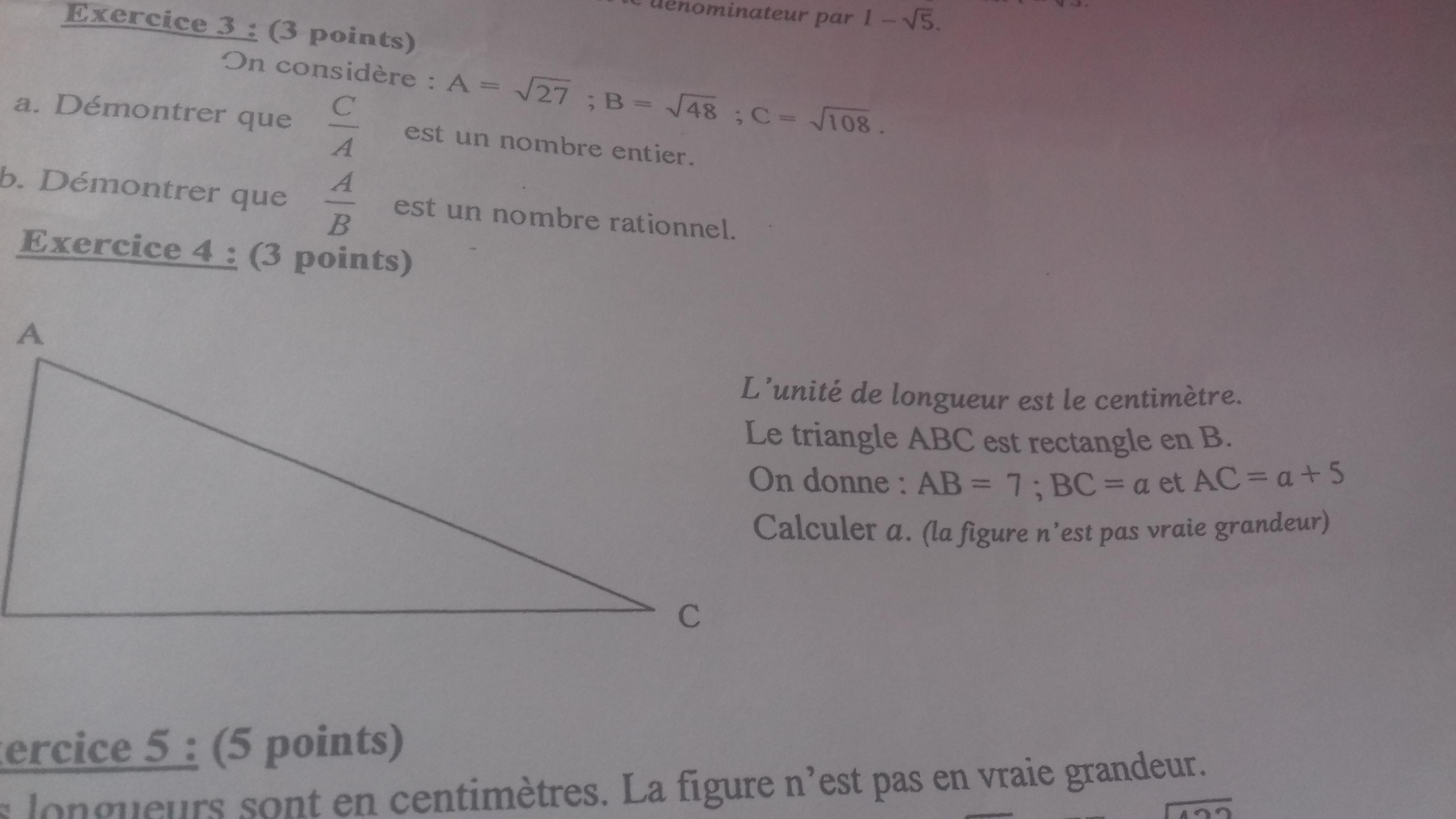 Exercice numéro 2 de mon Dm à rendre demain 3ème Mathématiques