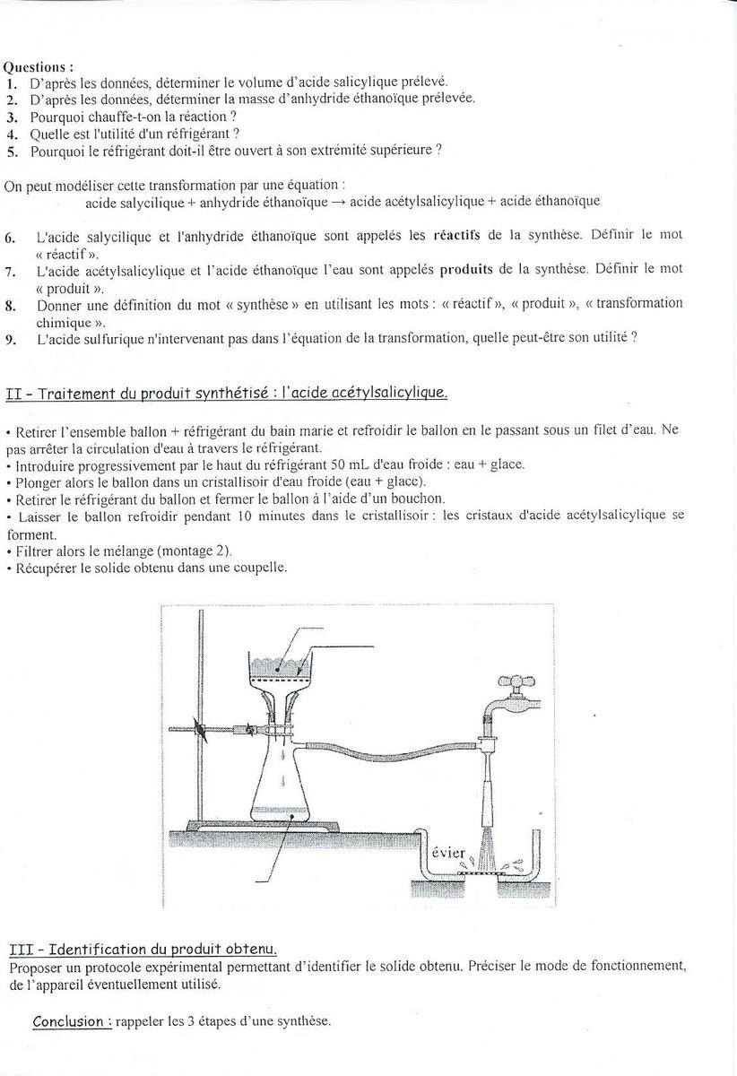 Devoir 3 physique cned questions sur l'identification du produit de... 2nde Physique