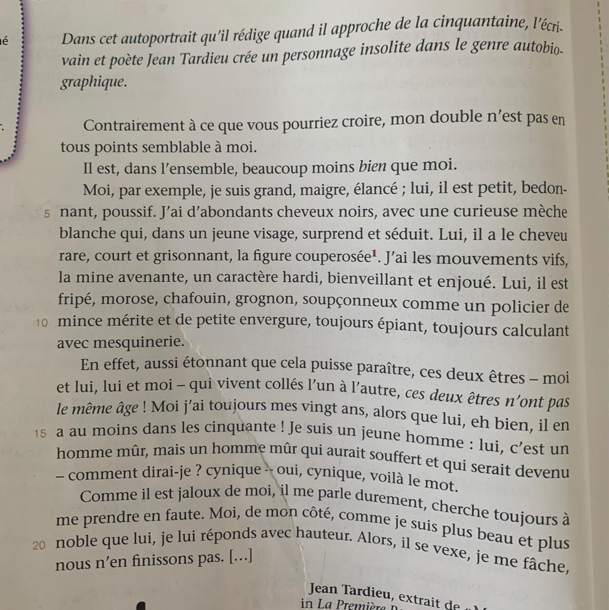 Rédaction Faire Un Texte à La Manière De Jean Tardieu Si
